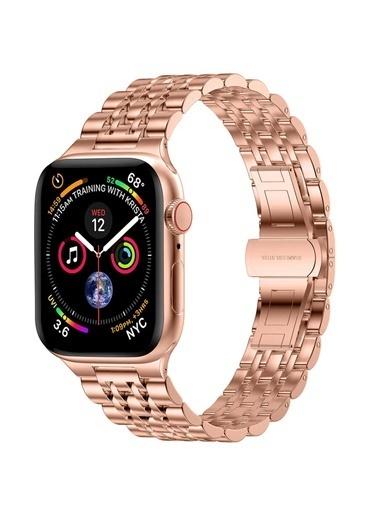 Wiwu Apple Watch 38mm Seven Beads Steel Belt Metal Kordon Altın